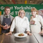Rosemary Shrager, Stuart Beaston and gilly Robinson in the Great Yorkshire Food Theatre